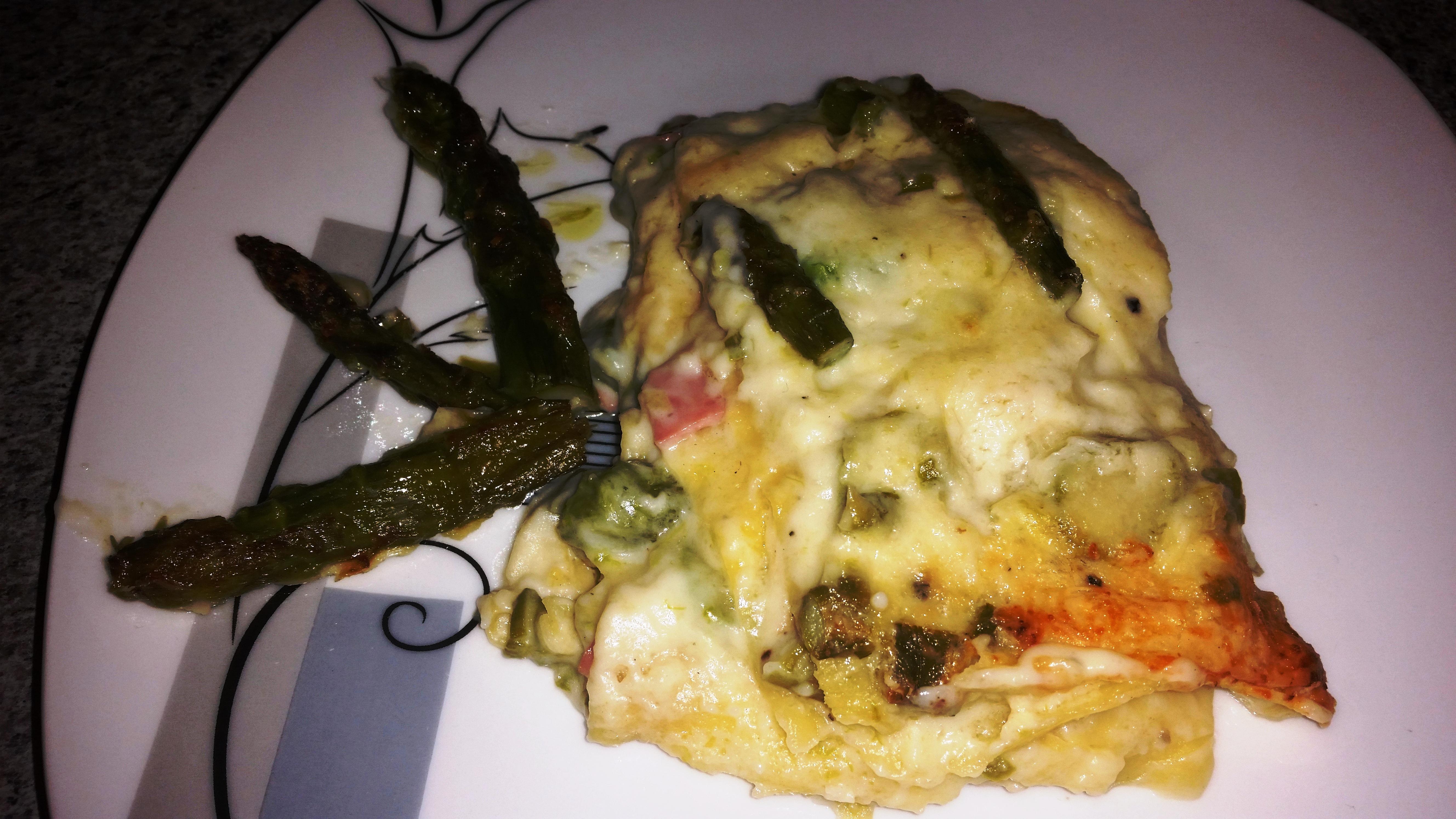 Lasagne asparagi mortadella e pecorino