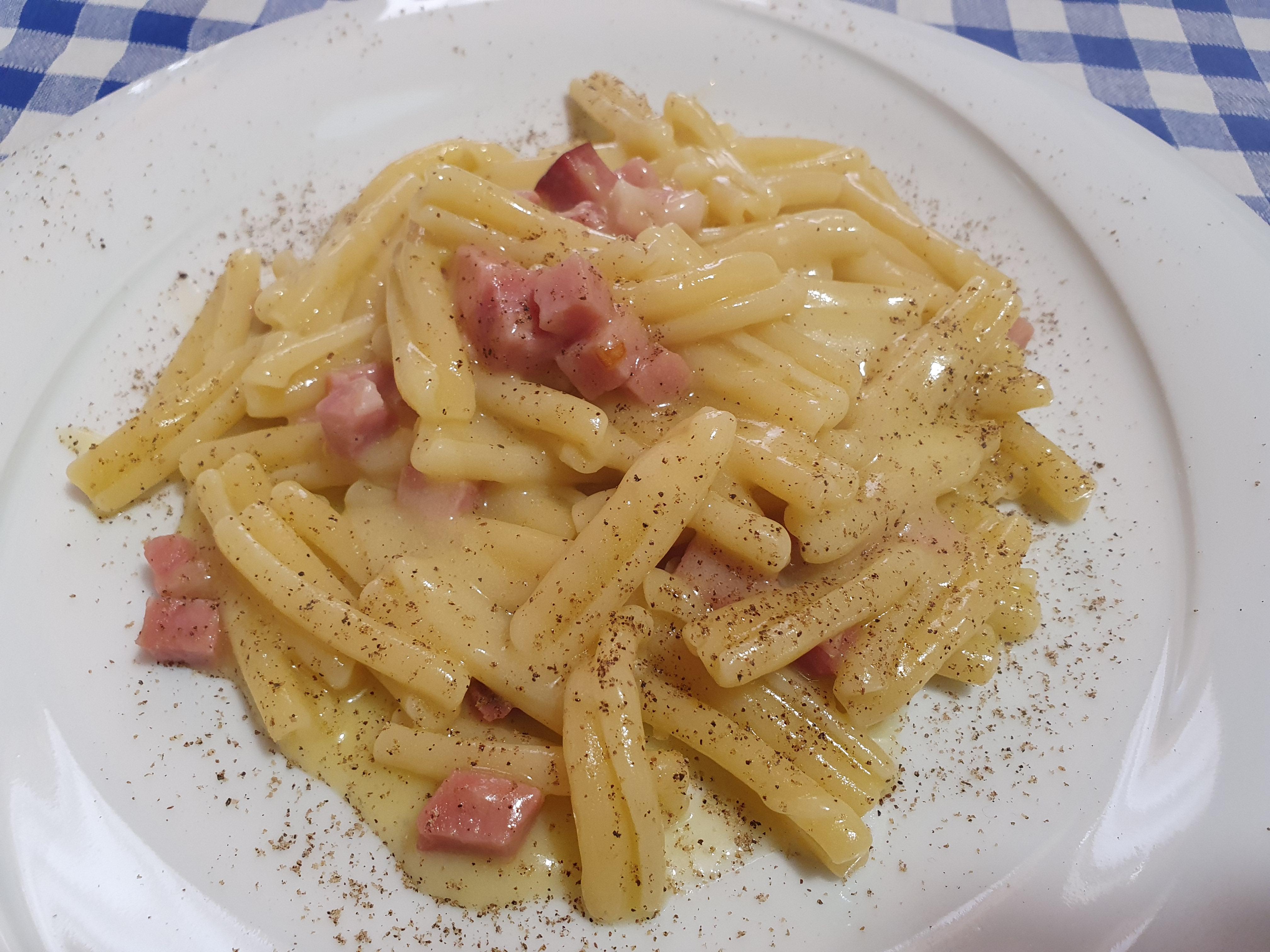 Casarecce speck e crema di patate