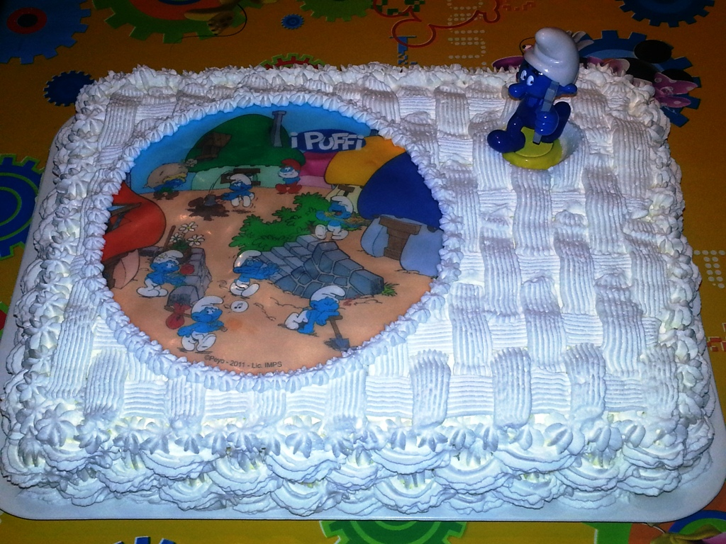 Torta puffo for Piani di fattoria con foto
